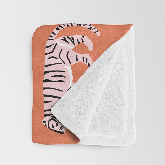 Orange, Blush & Green Tigers Throw Blanket