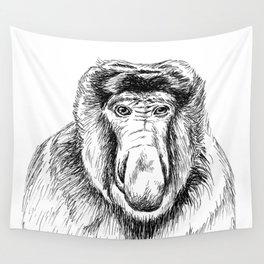 Proboscis Monkey Drawing Wall Tapestry