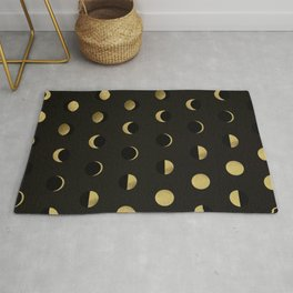 The Lunar Cycle • Phases of the Moon – Black & Gold Palette Rug