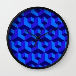 Bold Blue Cubic Wall Clock