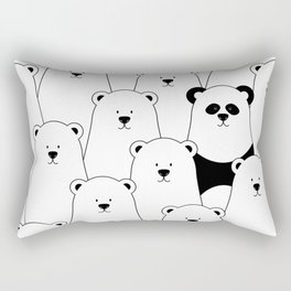 Polar bear and panda cartoon Rectangular Pillow