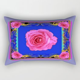 Pink Roses on Royal Blue Abstract Rectangular Pillow
