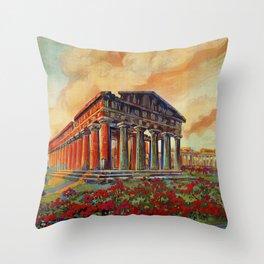 Paestum ancient Greek temple Throw Pillow