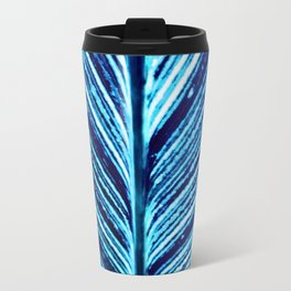 Feather Leaf in Blue Travel Mug
