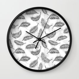 Black feathers pattern Wall Clock