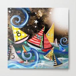 Night Sailing - Aurora Art Moonlight Stars Night Metal Print