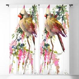 Cardinal Bird Earth Green Olive green Pink Blackout Curtain