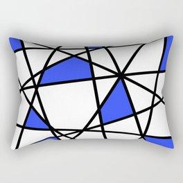 Geometric Modern triangles - white blue Rectangular Pillow