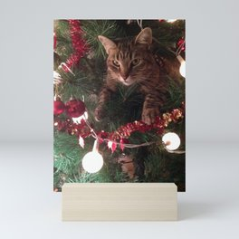 Cat in tree Photoshop effect Mini Art Print