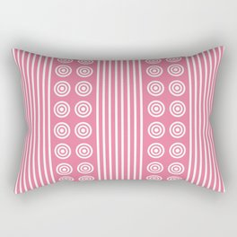 Geometric Pretty Pink & White Vertical Stripes and Circles Rectangular Pillow