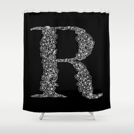 Cherry Blossom R Black Shower Curtain