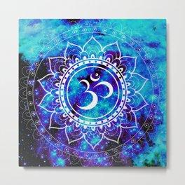 Om Mandala : Bright Violet & Teal Metal Print
