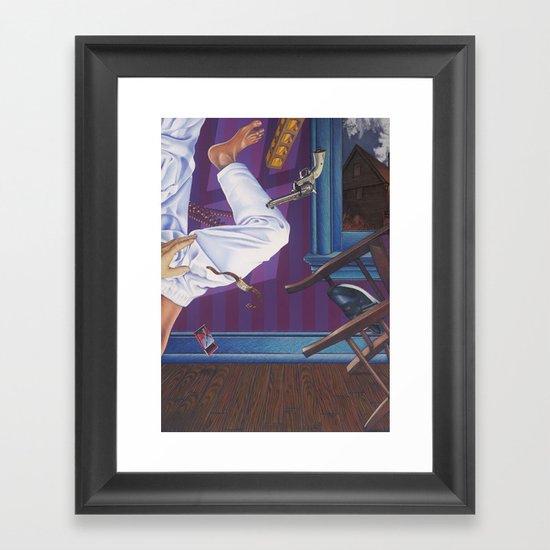 rope broke, used gun Framed Art Print