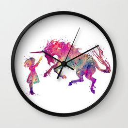 Girl and Unicorn Art Watercolor Art Unicorn Gifts Fantasy Art Unicorn Lovers Art Wall Clock
