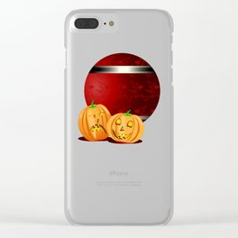 Pumpkins and spooky witches Clear iPhone Case