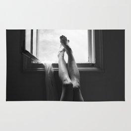 digital photo photography legs window figure woman black and white Rug