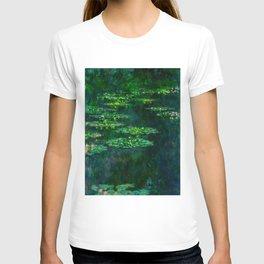 Claude Monet Impressionist Landscape Oil Painting Waterlilies T-shirt