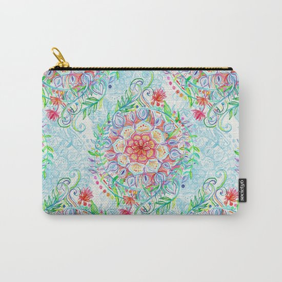 Messy Boho Floral in Rainbow Hues Carry-All Pouch