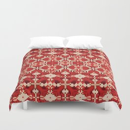 ikat geo mix patched in brigh red Duvet Cover