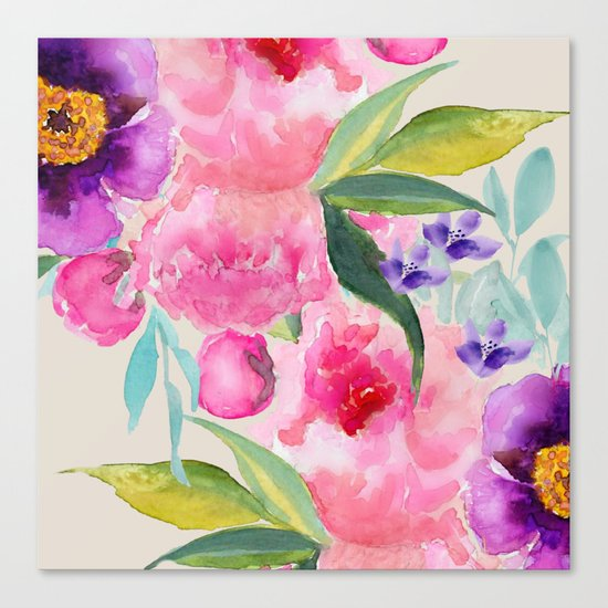 Floral white  Canvas Print