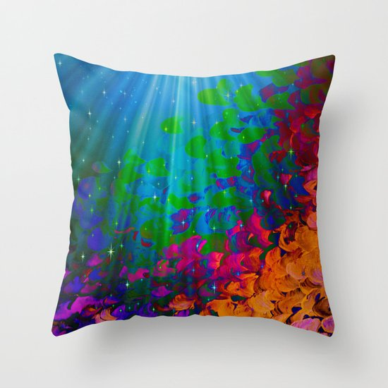 UNDER THE SEA Bold Colorful Abstract Acrylic Painting Mermaid Ocean Waves Splash Water Rainbow Ombre Throw Pillow