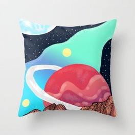 Planet with ring Throw Pillow