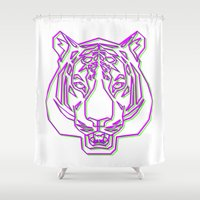 rave Shower Curtains featuring Tiger Rave by James Thornton