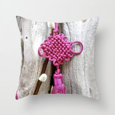 Chinese Knot (Magenta) Throw Pillow