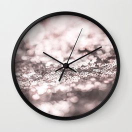 Shiny rose sparkling bokeh Wall Clock