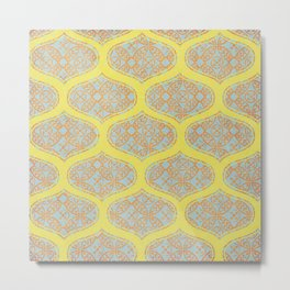 Garden Charm IV:  Floral Geometric in Yellow and Blue Metal Print