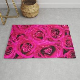 Romantic Pink Purple Roses Pattern Rug