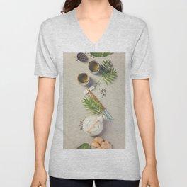 Asian food background Unisex V-Neck