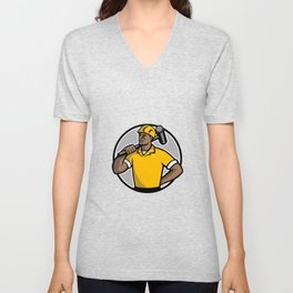 African American Demolition Worker Mascot Unisex V-Neck