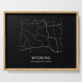 Wyoming State Road Map Serving Tray
