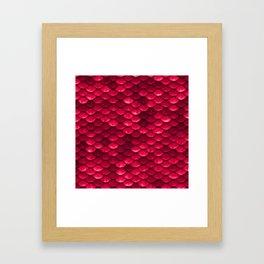 Ruby Red Mermaid Tail Scales Framed Art Print