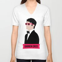 darren criss V-neck T-shirts featuring Darren Criss with pink shades! by byebyesally