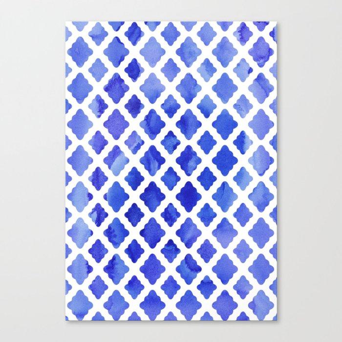 Watercolor Diamonds in Cobalt Blue Canvas Print