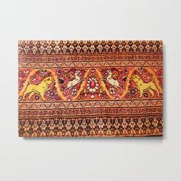 Animal Motif Antique Persian Khorassan Rug Metal Print