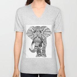 Mandala Zentangle Elephant Design Painting by Ashley Lane Unisex V-Neck