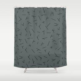 Abstract criss cross stripes irregular minimal lines stone blue Shower Curtain