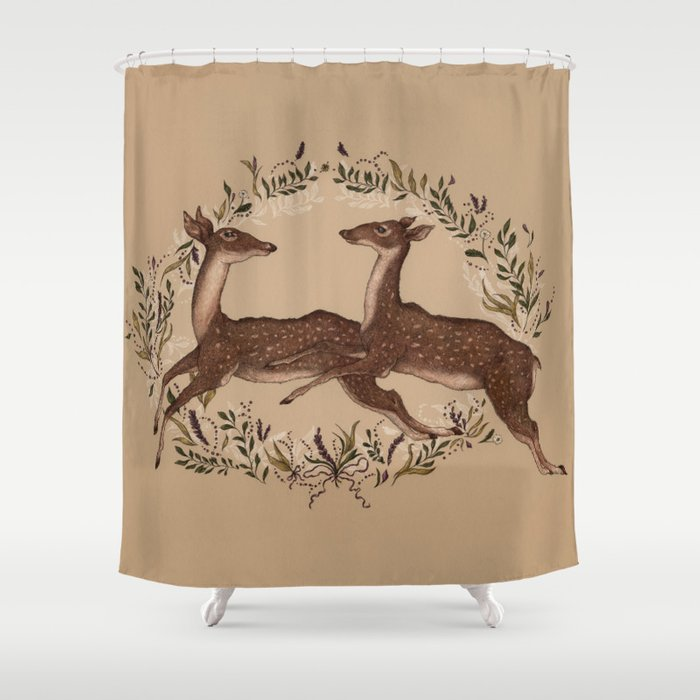 Jumping Deer Shower Curtain By Jessicaroux