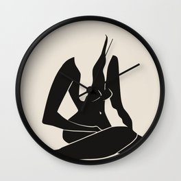 Long hair nude in black Wall Clock