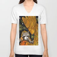 superheros V-neck T-shirts featuring We are Groot by Tiffany Saffle