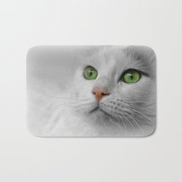 White Cat wit Green Eyes Bath Mat