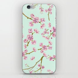 Spring Flowers - Mint and Pink Cherry Blossom Pattern iPhone Skin