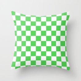 Checkered (Green & White Pattern) Throw Pillow