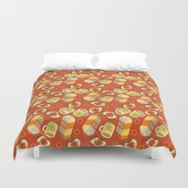 Coffee and Toast (Tomato Sauce Red) Duvet Cover