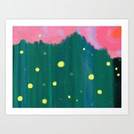 Tall Grass Pink Sky - Fireflies 1 Art Print