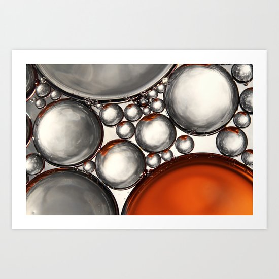 Mercury and Bronze Bubble Abstract Art Print