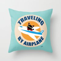 airplane Throw Pillows featuring Airplane by BATKEI